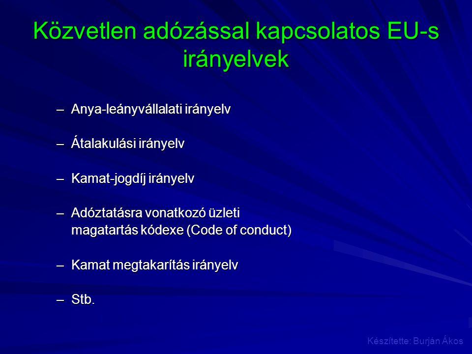 Közvetlen adózással kapcsolatos EU-s irányelvek