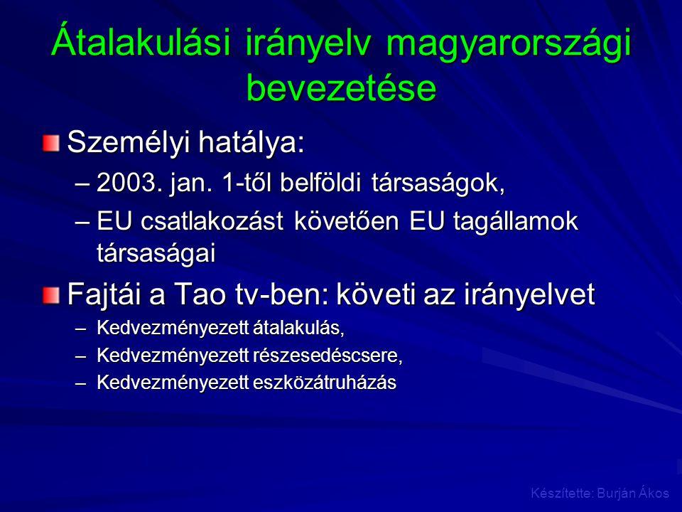 Átalakulási irányelv magyarországi bevezetése