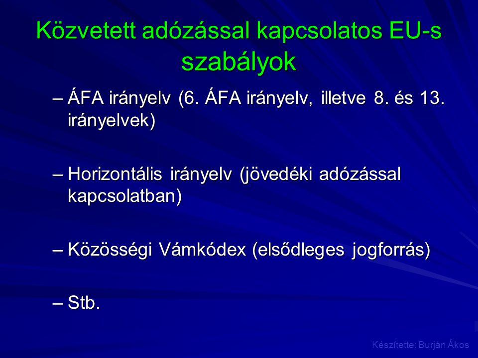 Közvetett adózással kapcsolatos EU-s szabályok