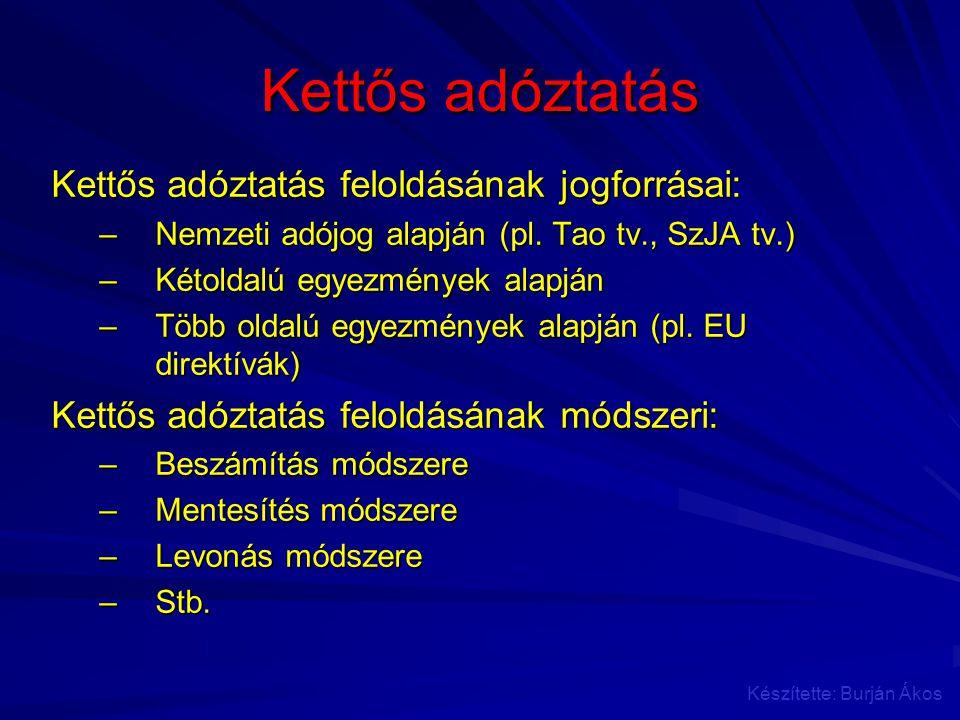 Kettős adóztatás Kettős adóztatás feloldásának jogforrásai:
