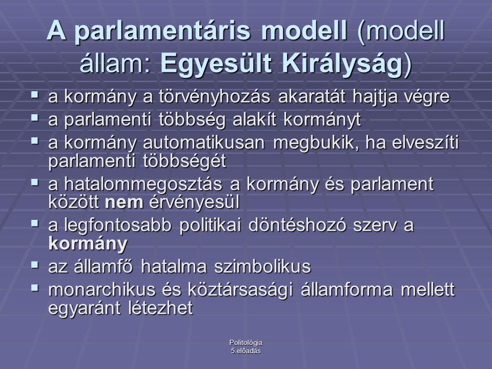 A parlamentáris modell (modell állam: Egyesült Királyság)
