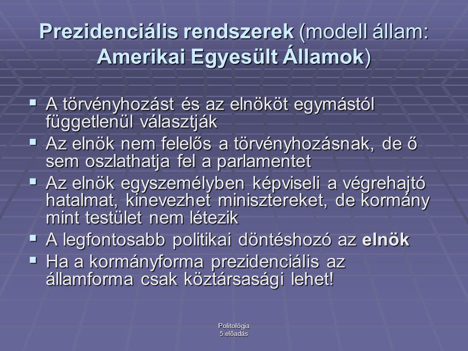 Prezidenciális rendszerek (modell állam: Amerikai Egyesült Államok)