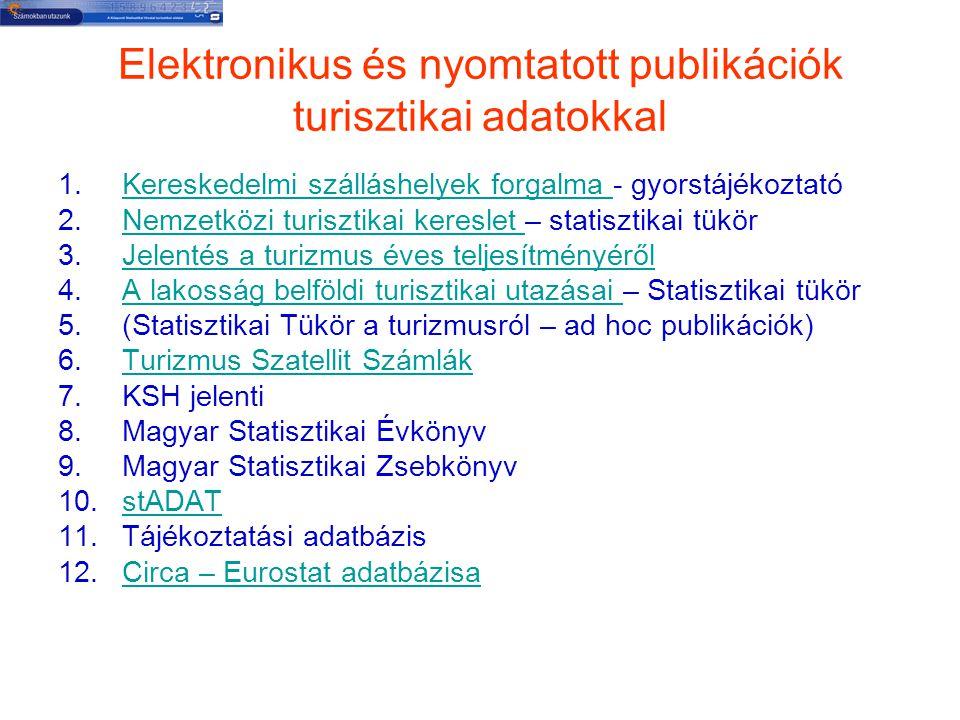 Elektronikus és nyomtatott publikációk turisztikai adatokkal