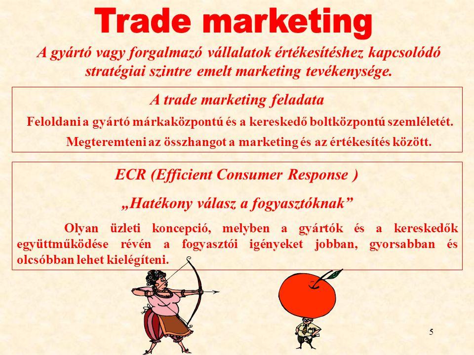 Trade marketing A gyártó vagy forgalmazó vállalatok értékesítéshez kapcsolódó stratégiai szintre emelt marketing tevékenysége.