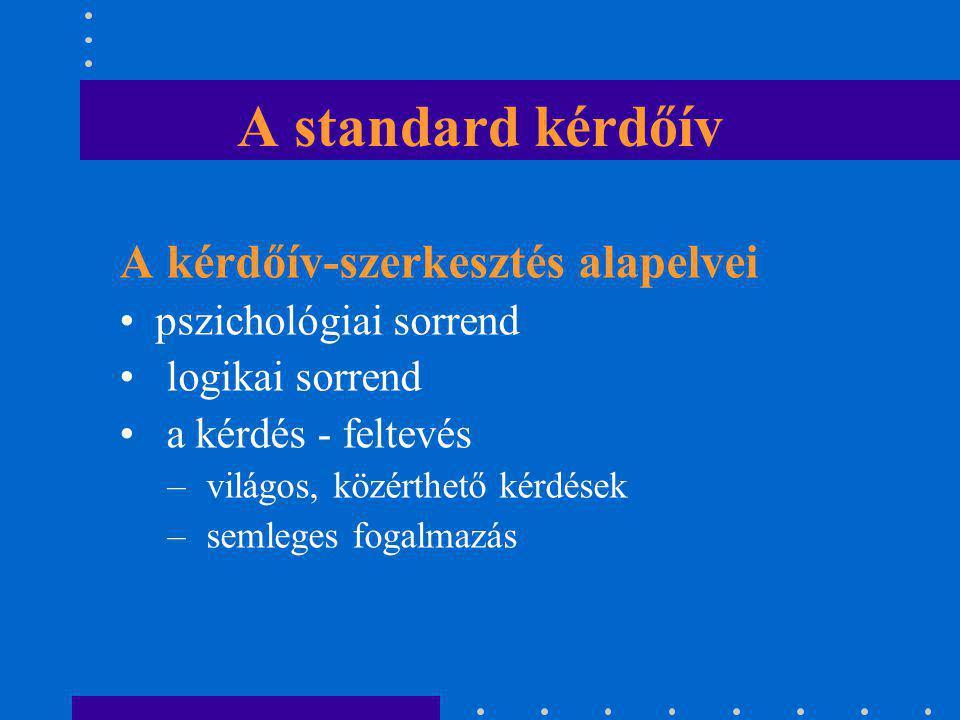 A standard kérdőív A kérdőív-szerkesztés alapelvei