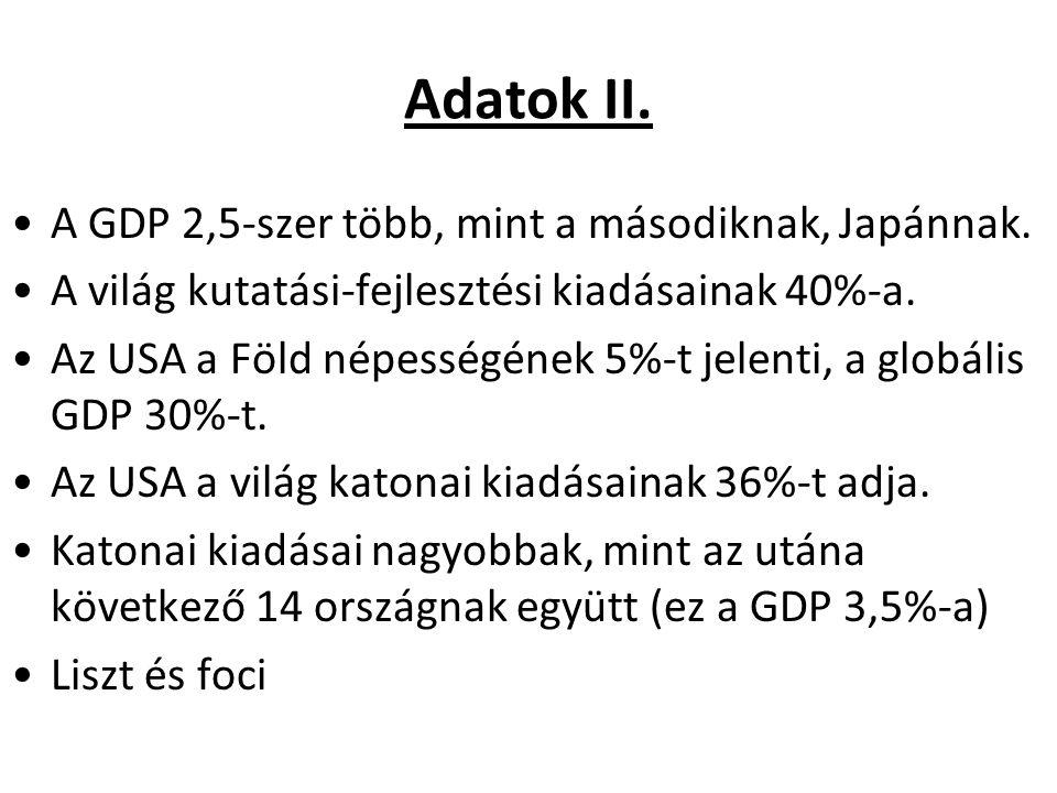 Adatok II. A GDP 2,5-szer több, mint a másodiknak, Japánnak.