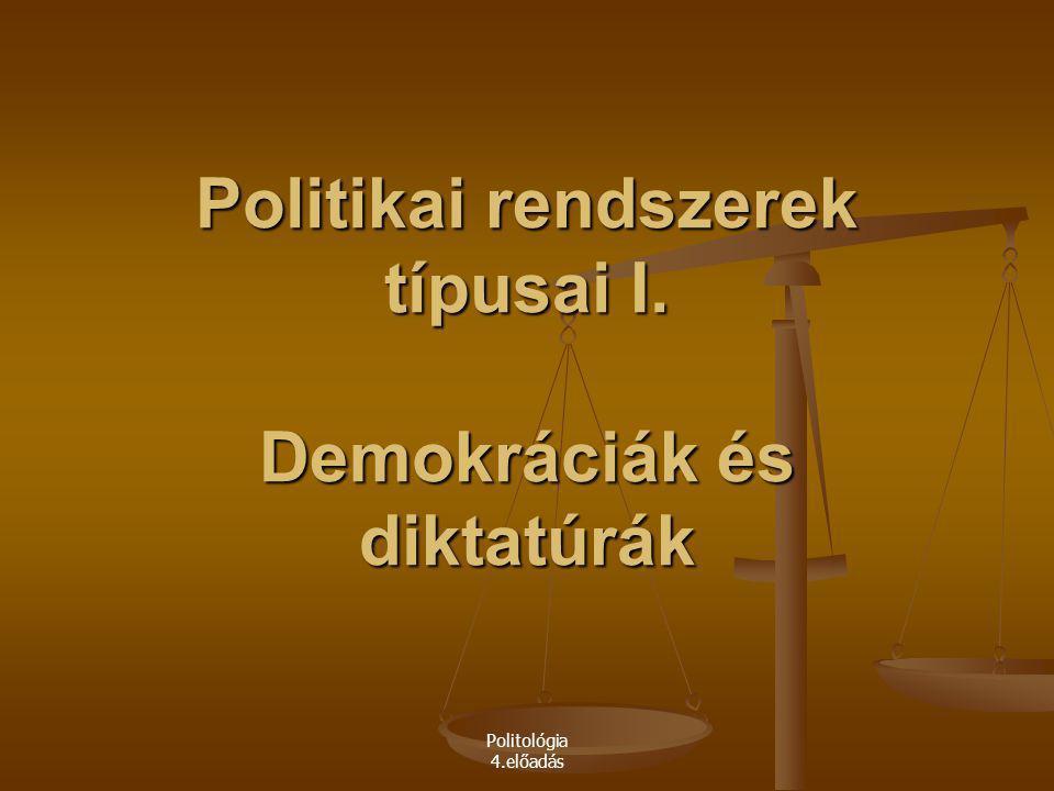 Politikai rendszerek típusai I. Demokráciák és diktatúrák