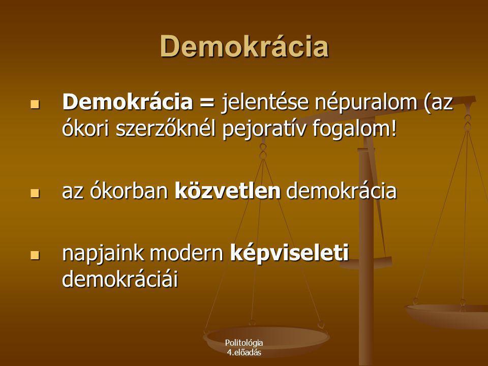 Demokrácia Demokrácia = jelentése népuralom (az ókori szerzőknél pejoratív fogalom! az ókorban közvetlen demokrácia.