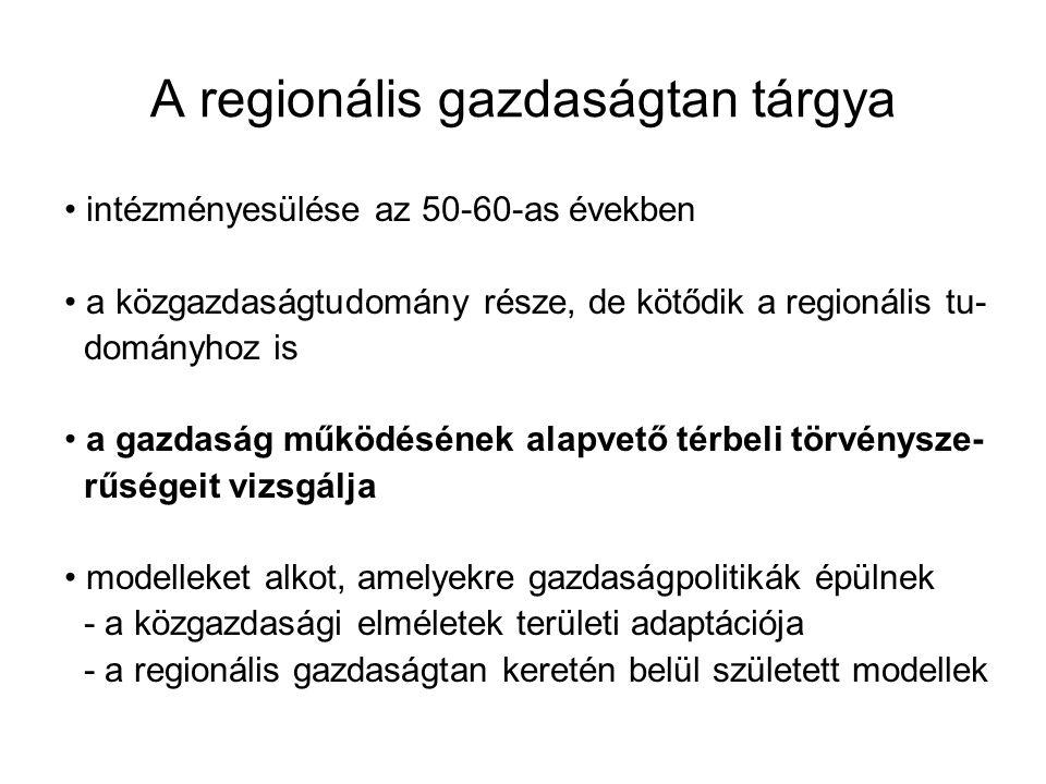 A regionális gazdaságtan tárgya