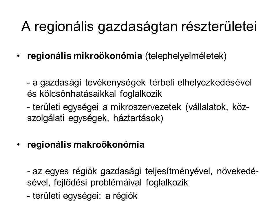 A regionális gazdaságtan részterületei