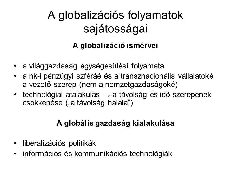 A globalizációs folyamatok sajátosságai