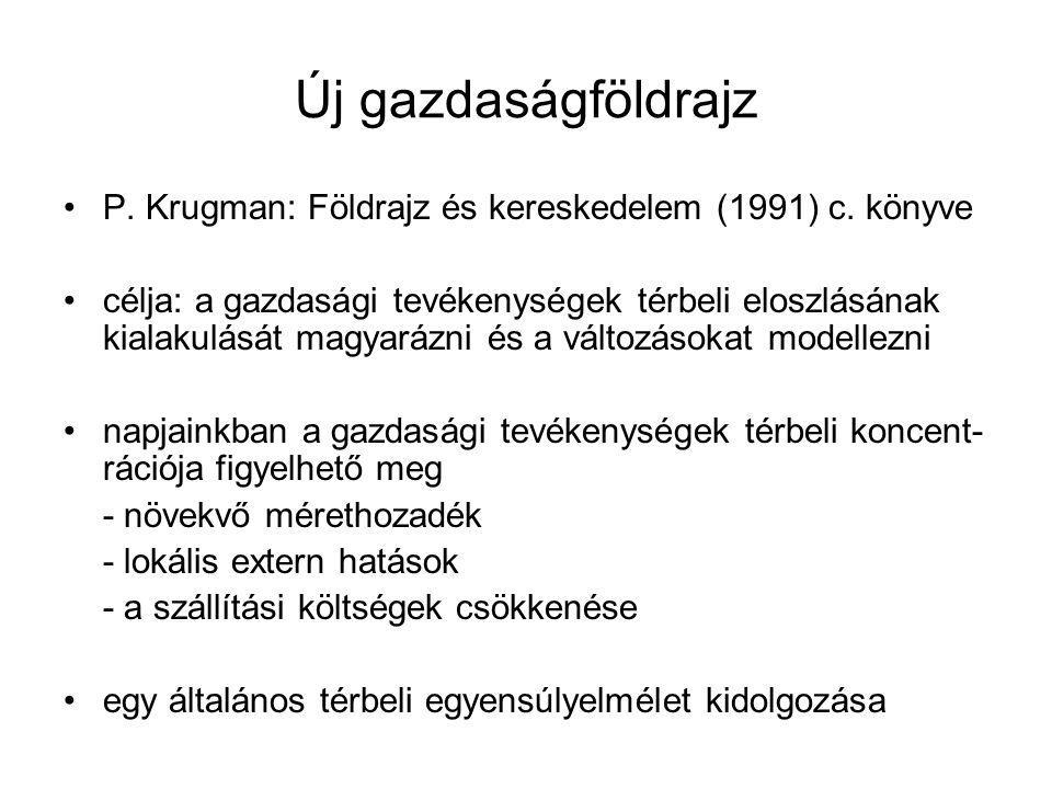 Új gazdaságföldrajz P. Krugman: Földrajz és kereskedelem (1991) c. könyve.
