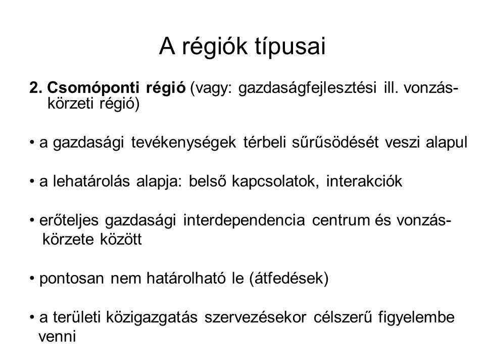 A régiók típusai 2. Csomóponti régió (vagy: gazdaságfejlesztési ill. vonzás-körzeti régió)