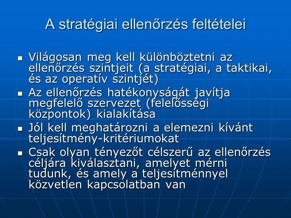 A stratégiai ellenőrzés feltételei