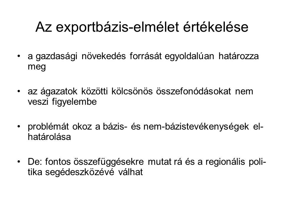 Az exportbázis-elmélet értékelése
