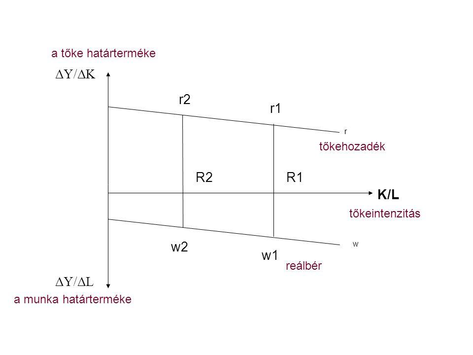 K/L ΔY/ΔK ΔY/ΔL r2 r1 R2 R1 w2 w1 a tőke határterméke tőkehozadék