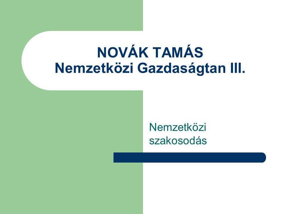 NOVÁK TAMÁS Nemzetközi Gazdaságtan III.
