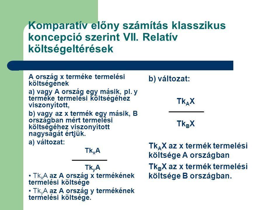 Komparatív előny számítás klasszikus koncepció szerint VII