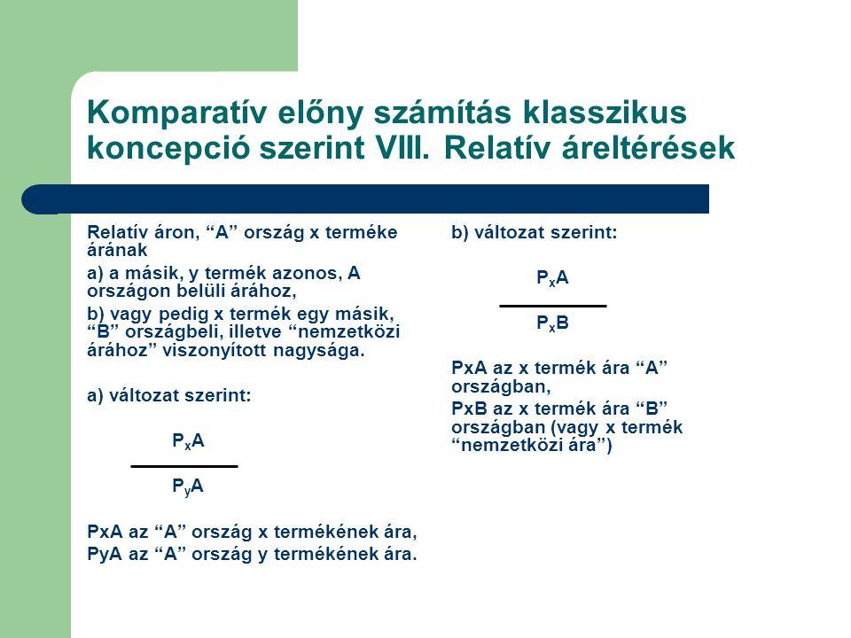 Komparatív előny számítás klasszikus koncepció szerint VIII