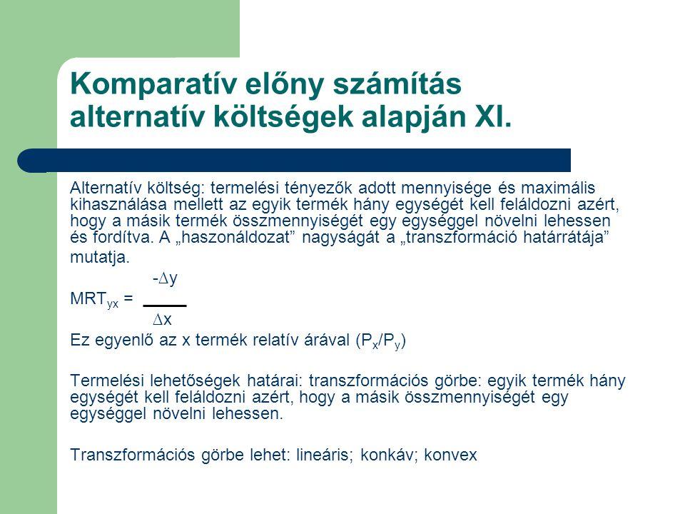 Komparatív előny számítás alternatív költségek alapján XI.