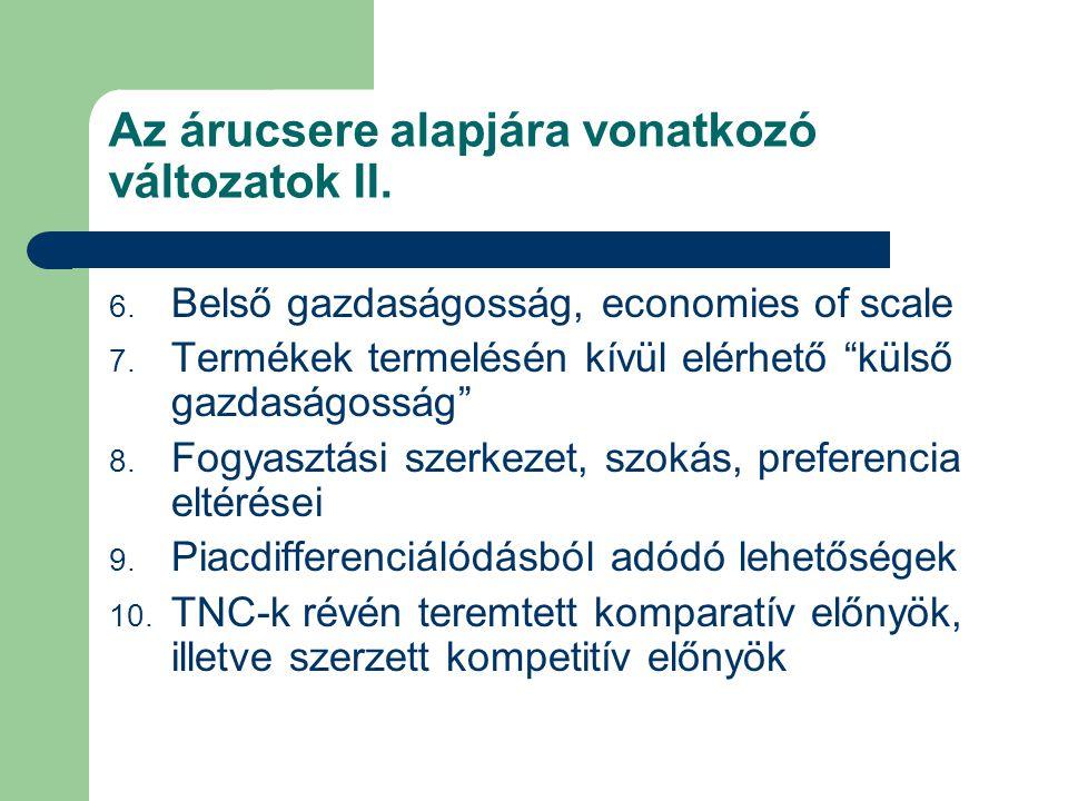 Az árucsere alapjára vonatkozó változatok II.
