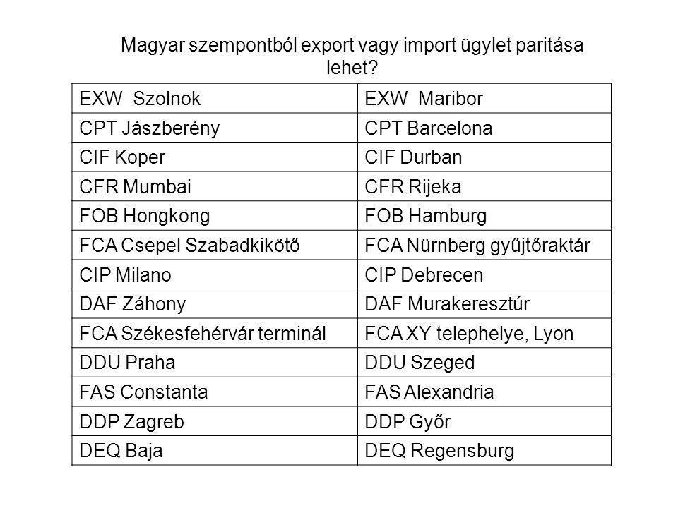 Magyar szempontból export vagy import ügylet paritása lehet