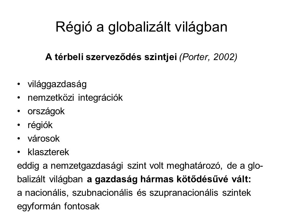 Régió a globalizált világban