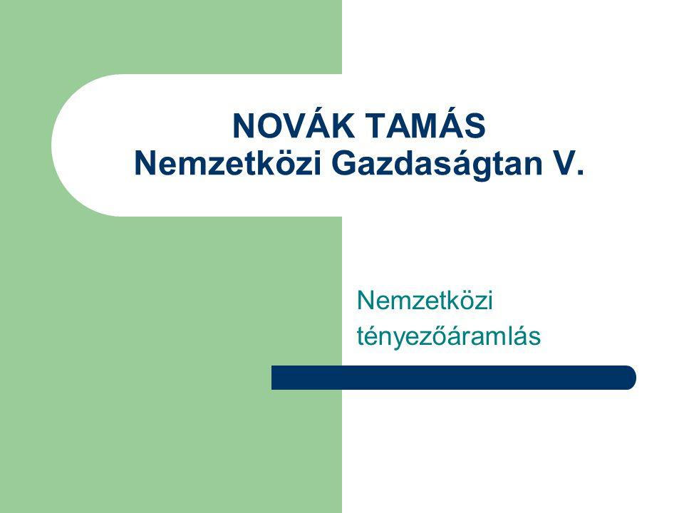 NOVÁK TAMÁS Nemzetközi Gazdaságtan V.