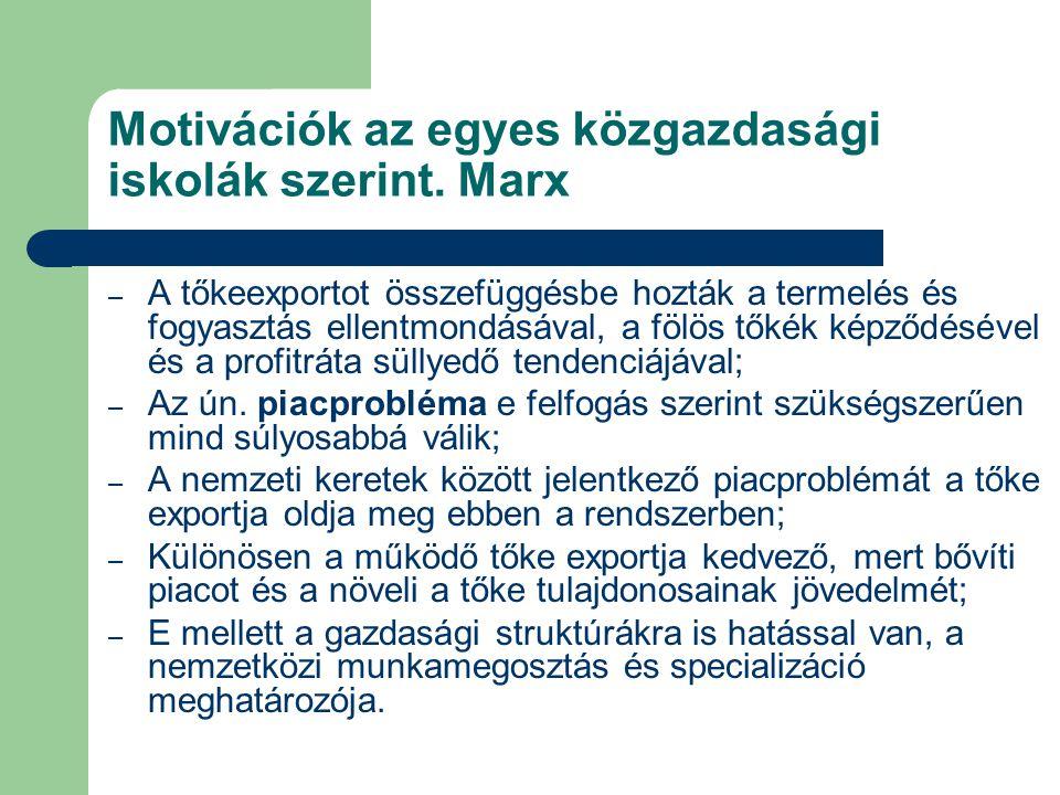 Motivációk az egyes közgazdasági iskolák szerint. Marx