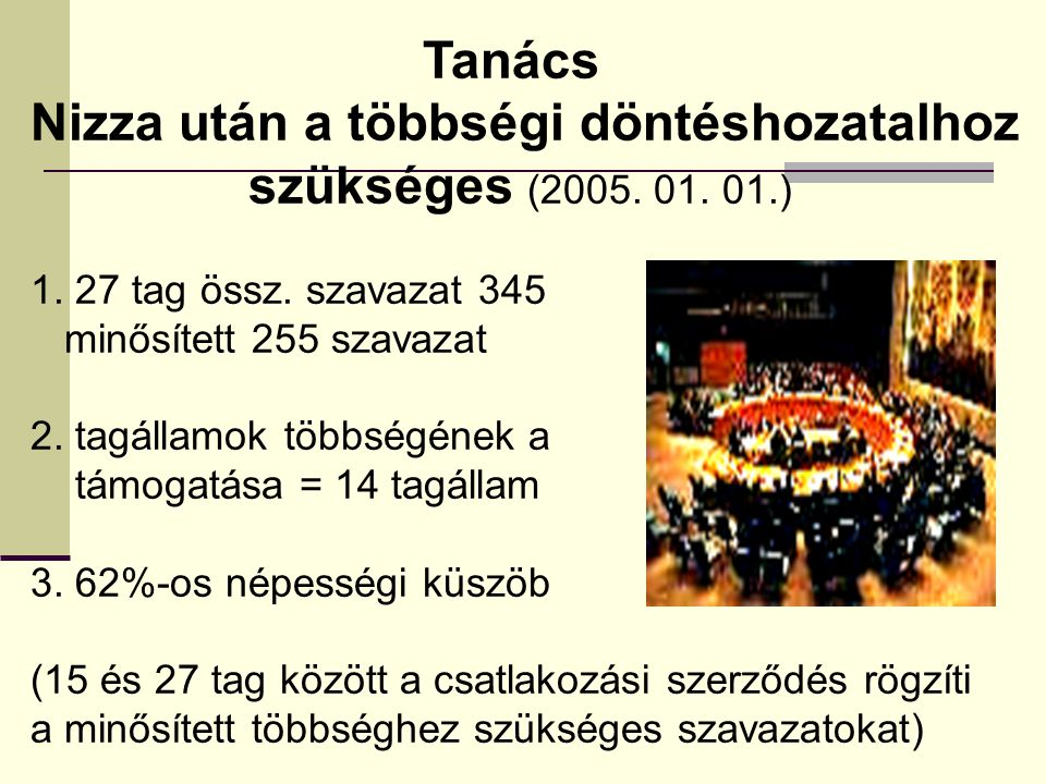 Nizza után a többségi döntéshozatalhoz szükséges (2005. 01. 01.)