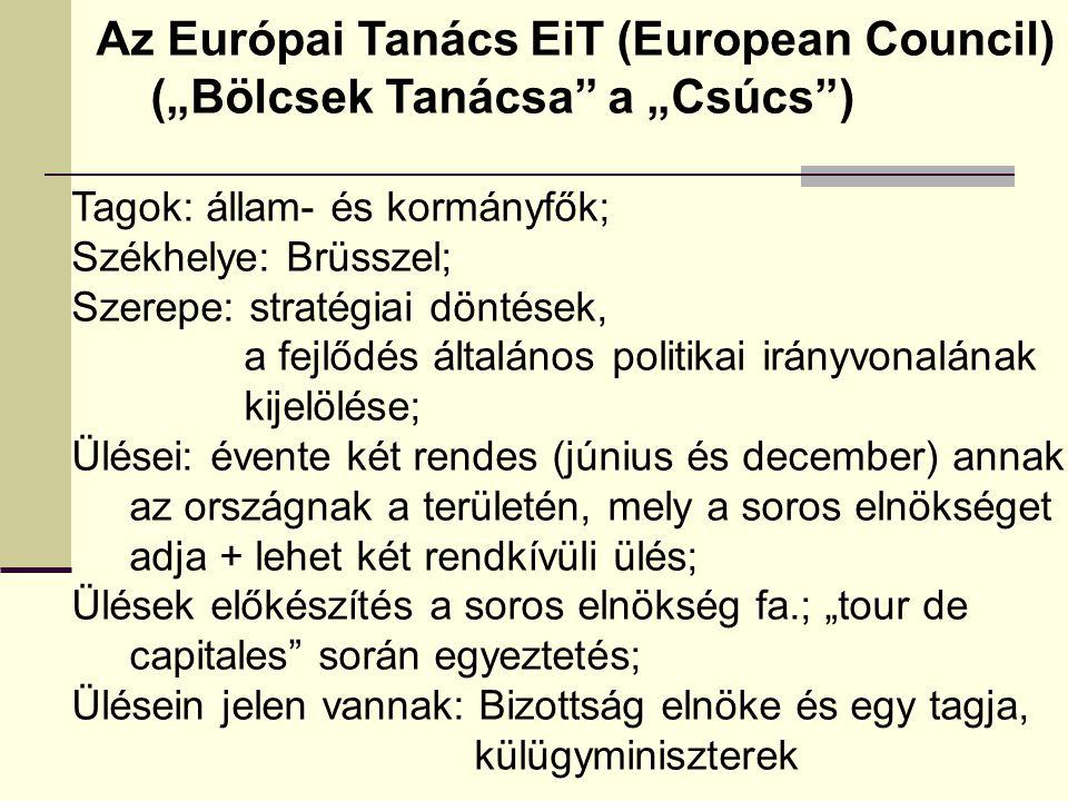 """Az Európai Tanács EiT (European Council) (""""Bölcsek Tanácsa a """"Csúcs )"""