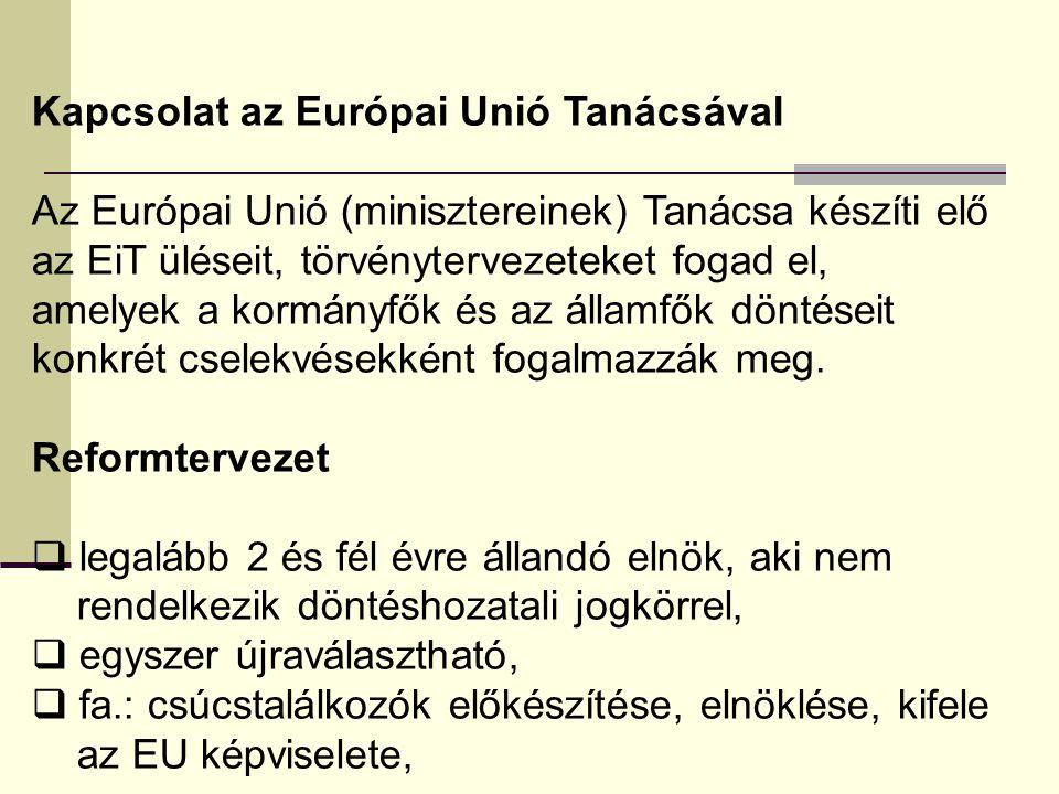 Kapcsolat az Európai Unió Tanácsával