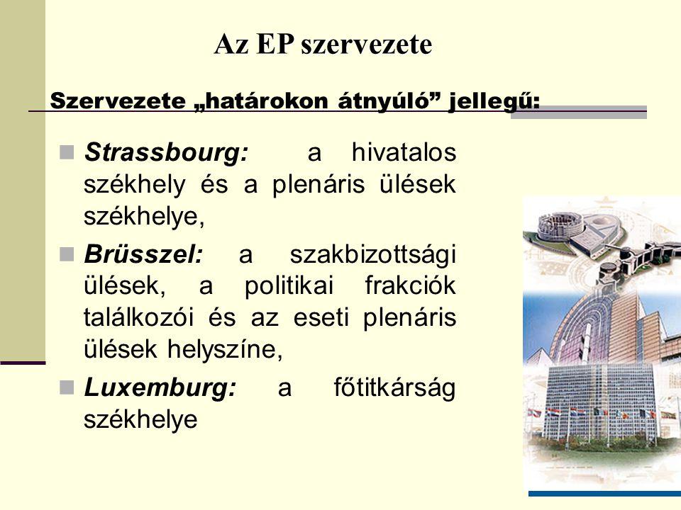 """Az EP szervezete Szervezete """"határokon átnyúló jellegű: Strassbourg: a hivatalos székhely és a plenáris ülések székhelye,"""