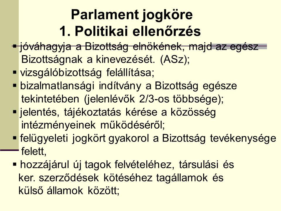 Parlament jogköre 1. Politikai ellenőrzés