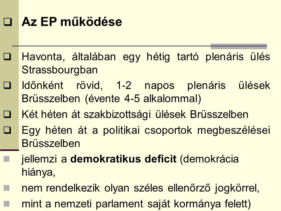 Az EP működése Havonta, általában egy hétig tartó plenáris ülés Strassbourgban.
