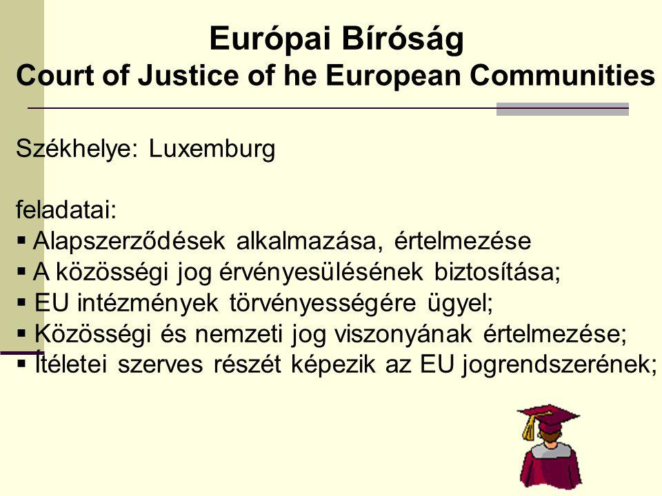 Európai Bíróság Court of Justice of he European Communities
