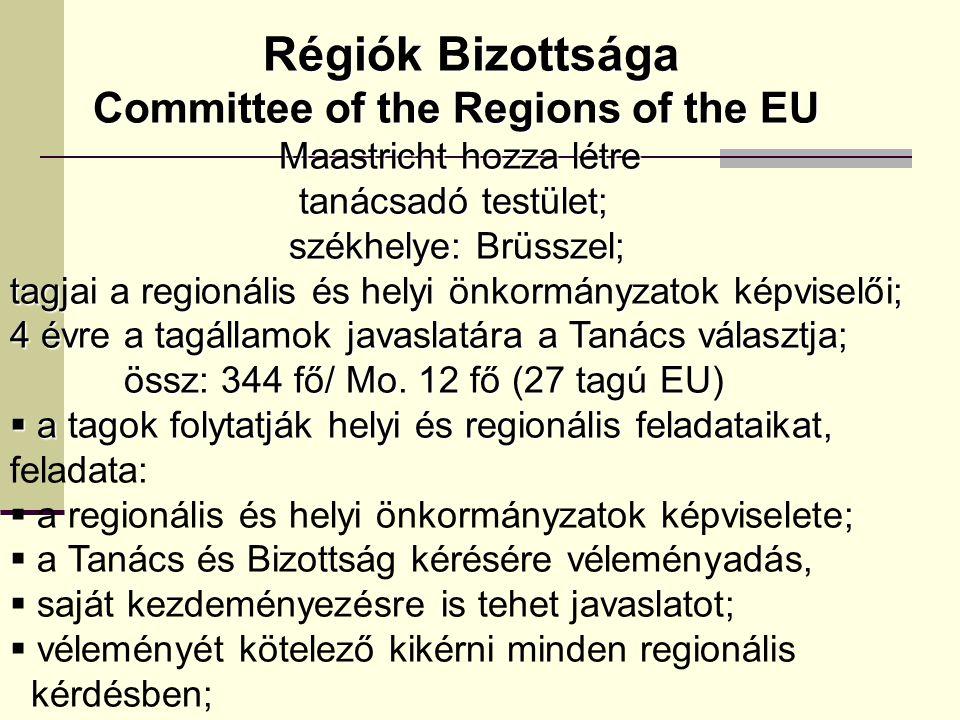 Régiók Bizottsága Committee of the Regions of the EU
