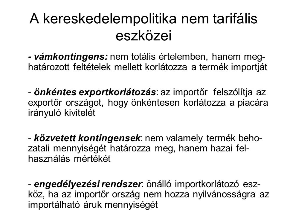 A kereskedelempolitika nem tarifális eszközei