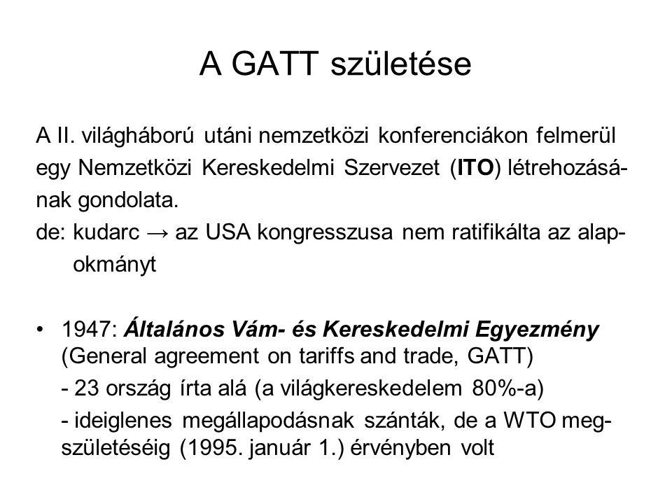 A GATT születése A II. világháború utáni nemzetközi konferenciákon felmerül. egy Nemzetközi Kereskedelmi Szervezet (ITO) létrehozásá-