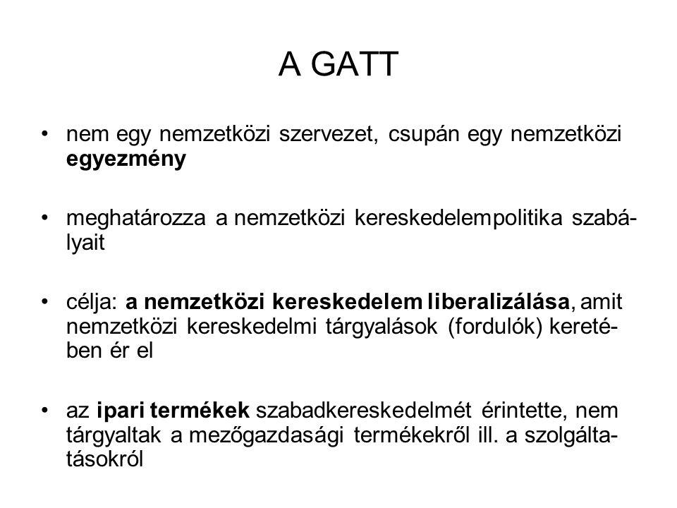 A GATT nem egy nemzetközi szervezet, csupán egy nemzetközi egyezmény