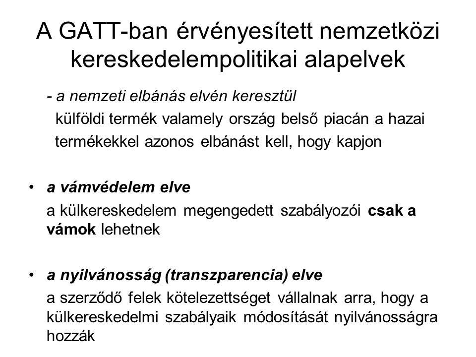 A GATT-ban érvényesített nemzetközi kereskedelempolitikai alapelvek