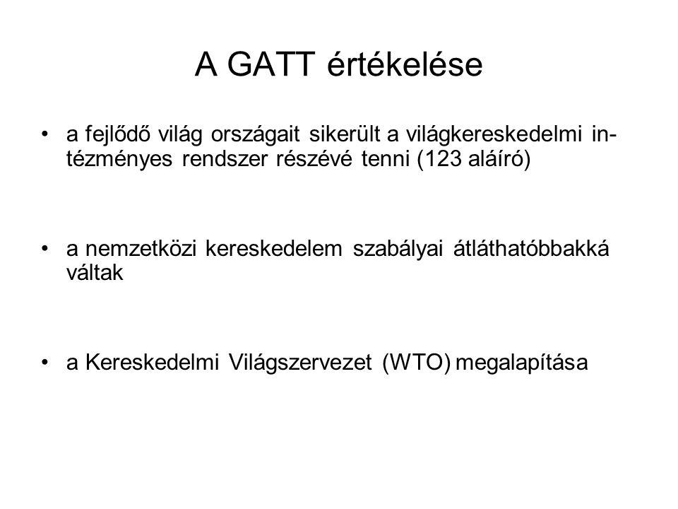 A GATT értékelése a fejlődő világ országait sikerült a világkereskedelmi in-tézményes rendszer részévé tenni (123 aláíró)