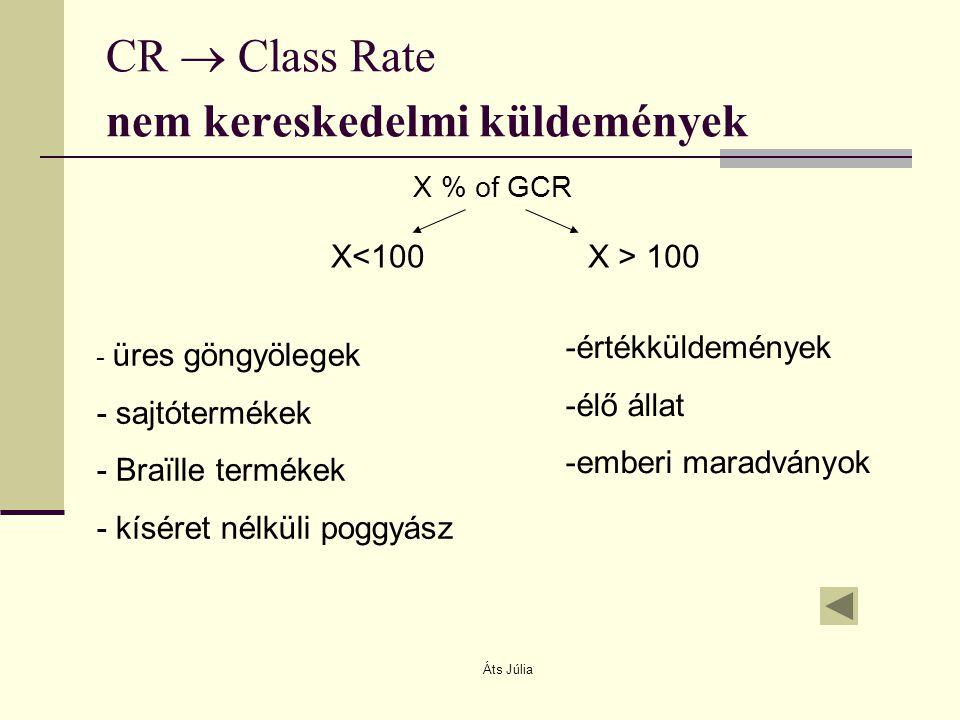CR  Class Rate nem kereskedelmi küldemények