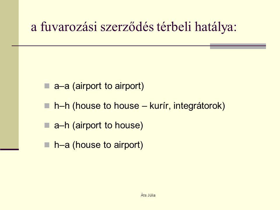 a fuvarozási szerződés térbeli hatálya: