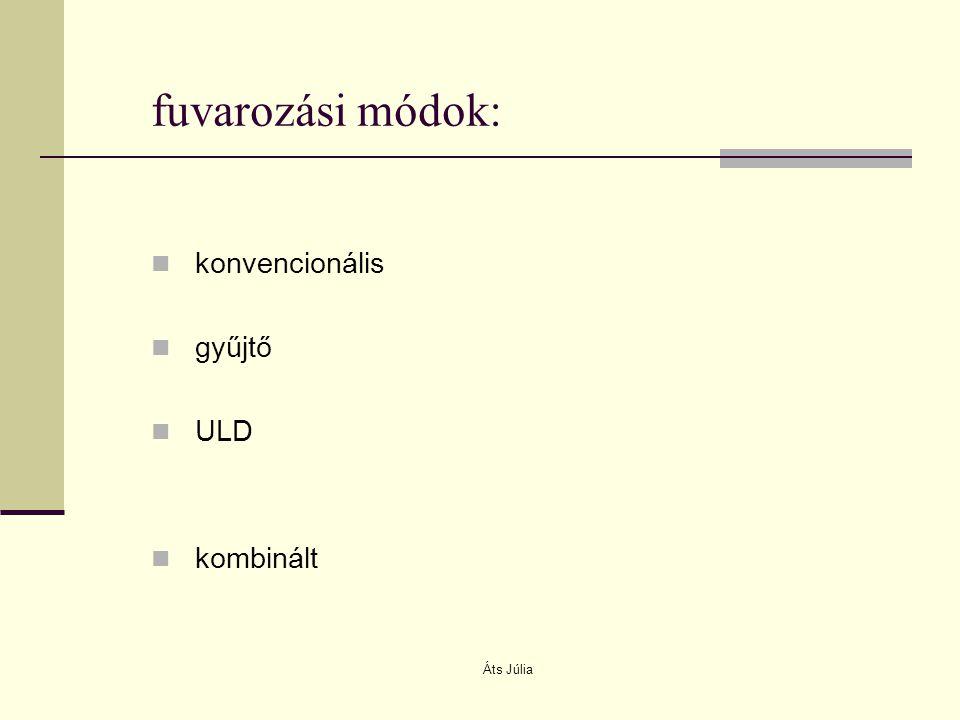fuvarozási módok: konvencionális gyűjtő ULD kombinált Áts Júlia