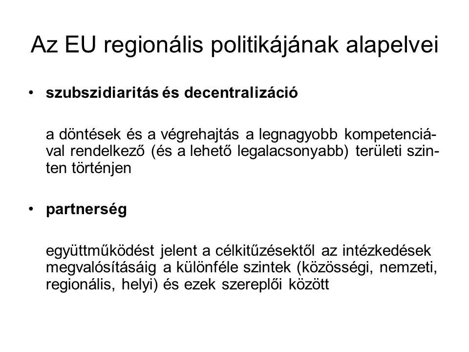 Az EU regionális politikájának alapelvei