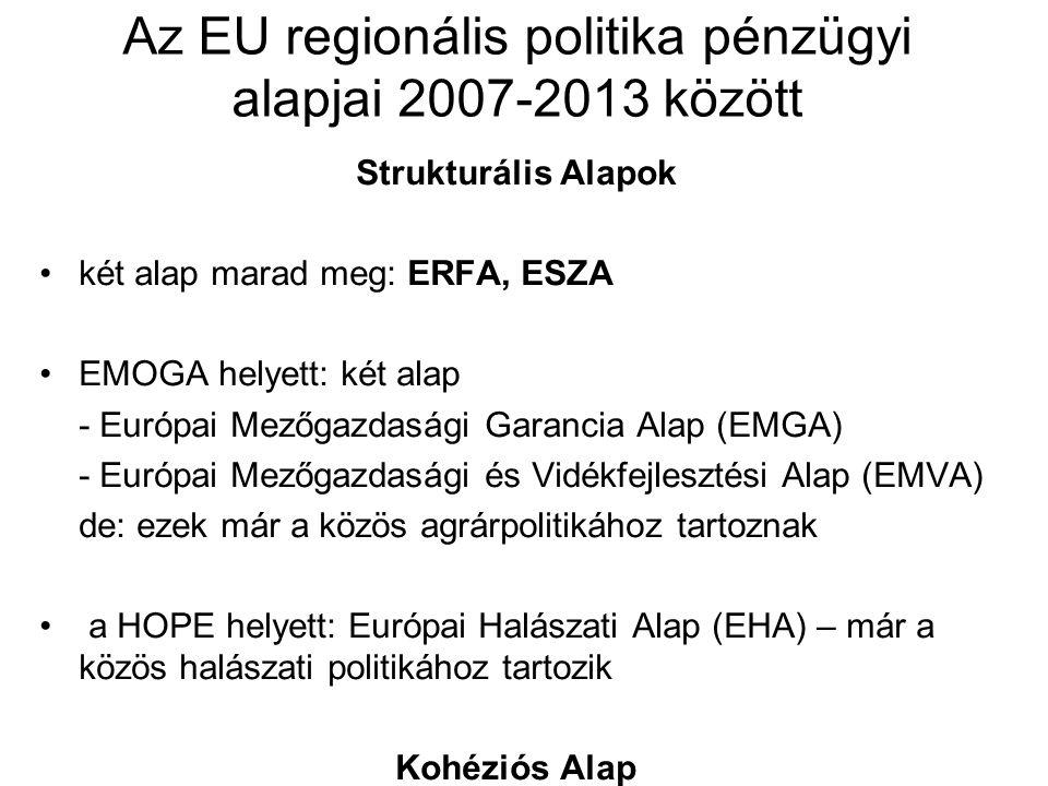 Az EU regionális politika pénzügyi alapjai 2007-2013 között