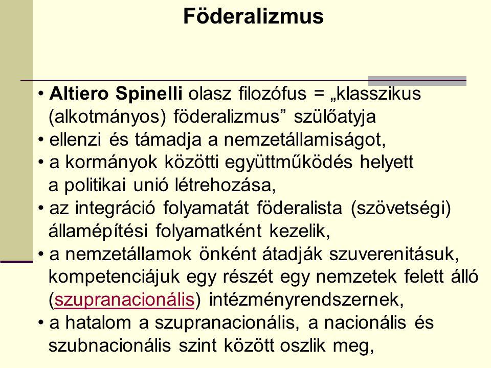 """Föderalizmus Altiero Spinelli olasz filozófus = """"klasszikus"""