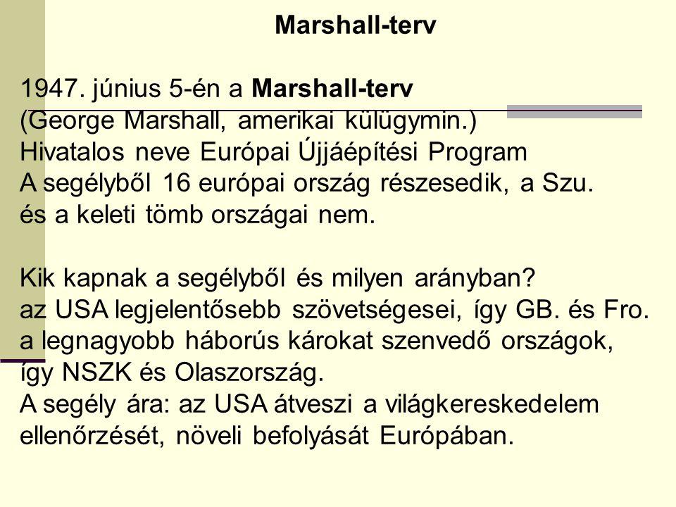 1947. június 5-én a Marshall-terv