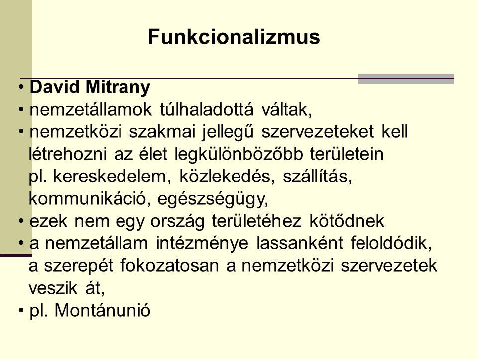 Funkcionalizmus David Mitrany nemzetállamok túlhaladottá váltak,